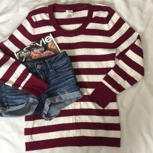 JMS Gorgeous striped sweater w/ribbed crew neck